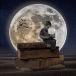 Manipulation books boy moon desert