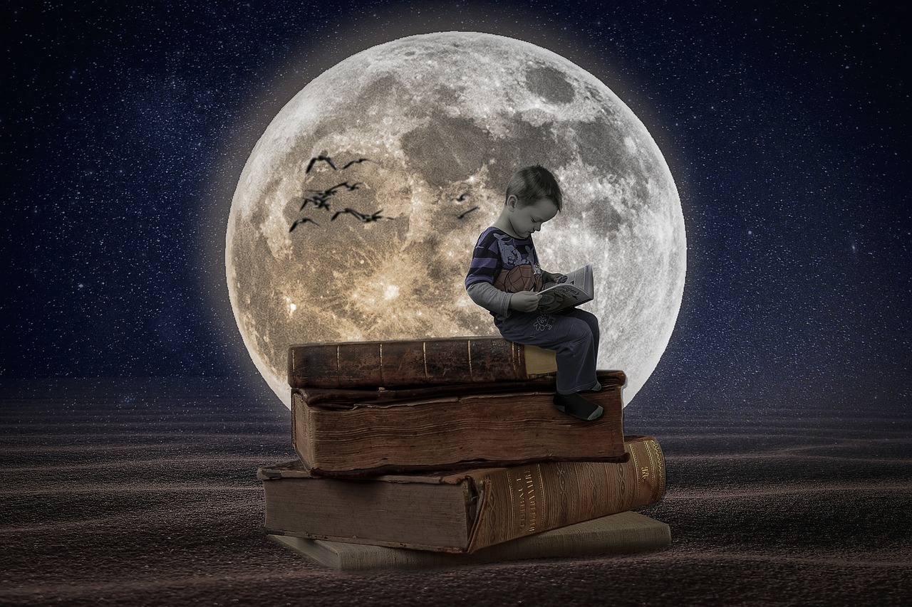 Manipulation books boy moon desert