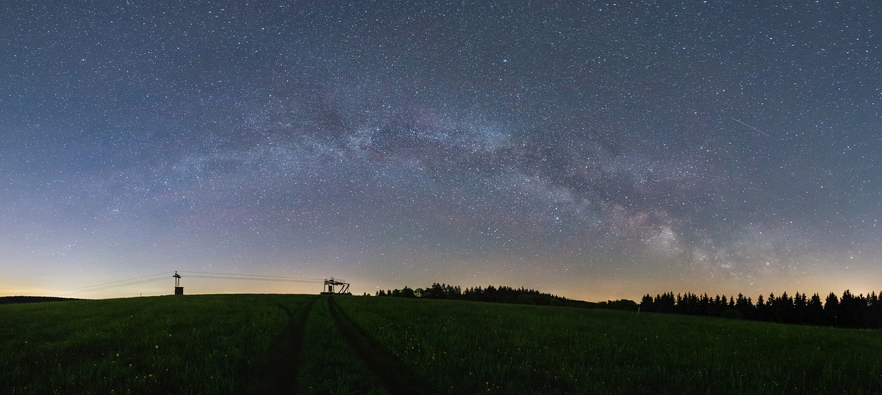 Milky way panorama astro night